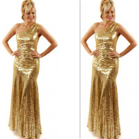 apple store size - Gold Evening Dresses Sequins One Shoulder Sparkle Prom Gowns Sheath Column Long Sequined Fashion Online Store Women Night Wears