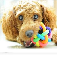Wholesale 2016 New Rainbow Color Rubber Ball Bell Pet Toy Small Dogs