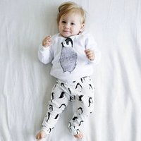baby penguin - 2016 New Autumn Penguin Cartoon Romper For Baby Boy Costume Clothes Kid Long Sleeve T Shirt Top Pant Piece Suit Newborn Tracksuti Pajamas