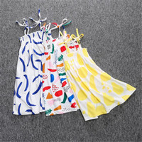 Wholesale Summer Pattern Printed Girls Dresses Long Beach Girls Dresses Cotton Material Cute Girls Clothing European and American Style