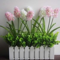 Wholesale Pastoral style silk flower hyacinth flowers flower simulation wooden fence set Home Furnishing decoration