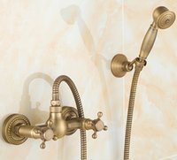antique plumbing - 2016 Antique bronze Bathroom Shower Faucet with Hand Shower Head Banheiro Chuveiro Torneira Hot Cold Mixer Tap Plumbing Sanitary