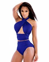 america department - New summer swimwear sexy explosion models in Europe and America Department of neck wrapped chest steel prop swimsuit set no no chest pad tig