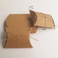 al por mayor aretes collar de la boda-Joyería del anillo del collar Pendientes de cartón en forma de cajas de almohada Caja de papel Kraft con corbata Galletas Suministros Empanada de la boda del partido de la caja DIY del caramelo de la fruta