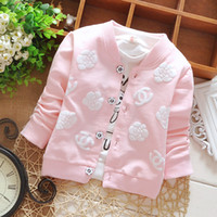 baby cotton cardigan - 2016 new arrival child clothing spring autumn girl s clothes baby clothing kids baby flower Sweaters girl s red pink coat T T