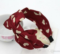 asian fabric prints - MisS Linda Korean fashion print hairbands double bow velvet headband heart shape headband for women baby hair accessories