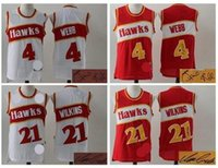 Wholesale 2016 A High Quality new arrival signed Atlanta Spud Webb Dominique Wilkins signature jersey for mens