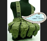 ak magazine vest - Outdoor tactical ride AK multi pocket magazine chest rig carry cs vest Green