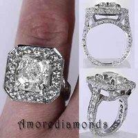 antique cushion diamond - 5 ct E SI natural cushion round antique vinatge engagement halo ring k gold