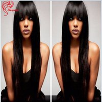 Wholesale 130 Density Unprocessed Human Hair Wigs Popular Straight Glueless Lace Front Human Hair Wigs With Bangs