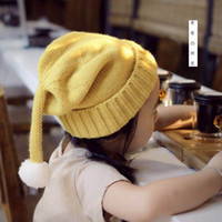 cotton wool roll - Roll Hem Children Caps Long Tail White Pompon Cute Wool Warm Colors Solid color Elf Hat Kids Gifts DA008