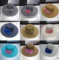 Wholesale 2016 New Women Wide Brim Hat Floppy Derby Hat Large Floral Summer Beach Sun Straw Hat Cap Mix Color