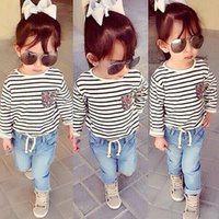 Cheap 2015 Autumn Girls Casual Denim Clothing Set Children Cotton Striped Long Sleeve 2-Piece Set Kids Fashion Denim Clothing For Girl