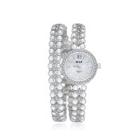 beaded watch bracelets - Gold Bracelet Watches for Women Diamond bezel Beaded Casual Watches for Lady Fashion Elegant Luxury Brand High Quality