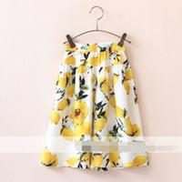 Cheap 2016 Baby Girls Elastic Waist Print Fruit Lemon And Floral Casual Pants Sweet Wide Leg Pants