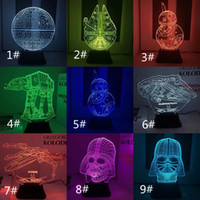 Wholesale 3D Visual LED Night Lights Star Wars Baymax Iron Man White Knight Light Cubes Modern Lighting Night Lights Table Lamp Colorful Changing