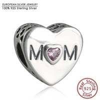 Wholesale pandora Sterling Silver Pink CZ Mother Heart Charms Beads Mother s Day Love Mom Hearts Bead For Bracelets Jewelry Making DIY