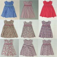 Wholesale Baby Dresses With Pink Floral Girls Beach Dress The Little Baby Girls Cute Dress Girls England Style Skirt Outside Clothes New Summer