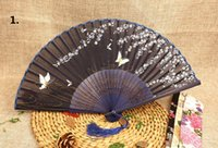 bamboo party favors - 100pcs Vintage Chinese Japanese Silk Butterflies Flower Sakura Folding Bamboo Hand Fan Wedding Bridal Favors Party Prom Gift ZA0952