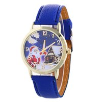 battery santa claus - Santa Claus pattern watches Christmas gifts watch Women Leather watches Wrsitwatches for women Student quartz watch Fashion flower watch
