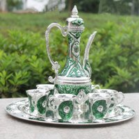 Wholesale silver finish with green color metal wine set tea set fashion zinc alloy wine set