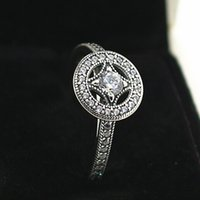 allure style - High quality Sterling Silver Vintage Allure Ring with Clear CZ European Pandora Style Jewelry Charm Ring