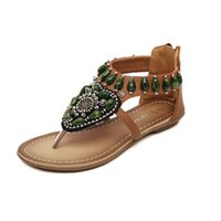 beaded zipper sandal - European fashion shoes high end atmosphere of Bohemia ethnic Handmade Beaded Rhinestone Women s Shoes back zipper sandals