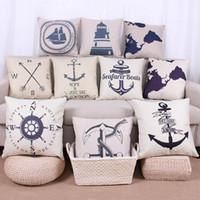 Wholesale Printing Pillow Cover w Navigation Nautical Pattern x17 inch Cotton Linen Throw Pillow Cushion Case Home Decorative Pillowcase