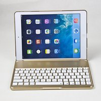 apple keyboard carrying case - Keyboard Ultra Thin Alumium Folio Shell ABS Wireless Bluetooth Backlit Carrying Case Colorful Backlight for Apple iPad Air by DHL