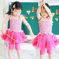 belt leggings - Fashion Girl Dress Child Clothes Kids Clothing Ruffle Condole Belt Summer Leggings Pants Children Set Kids Suit Outfits Lovekiss C25310