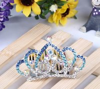 Wholesale Children Luxury Hair Tiaras Fashion Crown Headware Birthday Party Crystal Inlaid Tiaras For Girls Princess Queen Headband