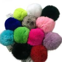 big bag accessories - 10cm big size plush Genuine real rabbit fur ball diy jewelry accessories for car key ring Bag Pendant car keychain