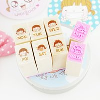 Wholesale set Mini Cute girl diary week wooden rubber stamp sets Crafts diy Handmade decal scrapbooking Photo Album