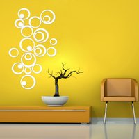 Wholesale DIY Artistic Round Wall Stickers Silver D Acrylic Mirror Surface Wall Stick Home Office Bedroom Decoration