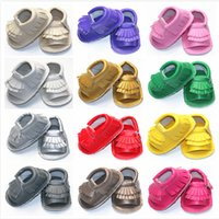 Wholesale Summer Style Soft Bottom Fashion Tassels Baby PU Sandals Fringe Newborn Slides Shoes colors PU leather Prewalkers Boots M