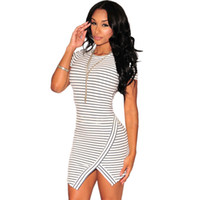 asymetrical dress - Woman Classic Strip Print Short Sleeve Asymetrical Bodycon Dress Work Dresses