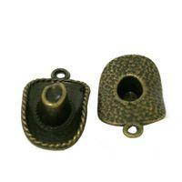 antique top hats - Zinc Alloy Top Hat Charms Antique Bronze Plated Cowboy hat Alloy charms Pendant DIY Top Sale Jewelry Accessories