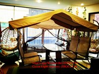 antique outdoor benches - Four seat patio benches with tarpaulin for beach party or outdoor hotel