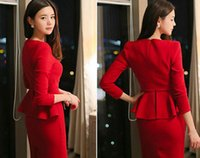 Wholesale 2016 autumn new long sleeved elegant Slim skirt thick dress Korean version of the wedding red dress