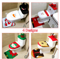 Wholesale Christmas Decoration For Home Santa snowman Toilet Seat Cover and Rug Bathroom Set Santa Claus XMAS Ornament LC424