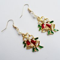 Wholesale Chrismas Tin - 2016 New Style Plated Gold Christmas Women,Christmas Bell Pendant Earrings,chrismas Pearl For Gift earings jewelry Earrings