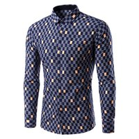 asian funds - Men s shirt color matching new fund sell like hot cakes grid men long sleeve shirt leisure shirt K8 Asian size K8