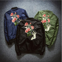 air force uniforms women - U S air force ski wear baseball uniform Bomber Jacket Chaquetas Mujer Flower Embroidery Couples Jacket Coat Women Oversize Casaco Outwear