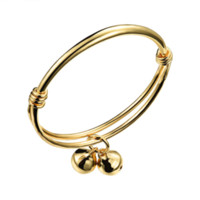 baby cuff bracelet - 18KGP Gold Plated Expendable Bangle Bracelet with Two Bells for Unisex Baby High Polished