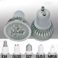 Wholesale GU10 E27 GU5 W W W Red Blue Green Yellow Color LED Spotlight Indoor lighting light Bulb Lamp V LED Downlight