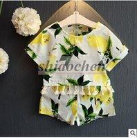 Wholesale Baby Lemon Outfits Girl Summer Lemon Tops Shorts Fashion Lemon T Shirts Pants Tassel Print Shirts Shorts Kids Lemon Clothing Sets B303