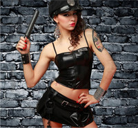 Wholesale Hot Sale New Adult Womens Sexy Black Halloween Party Police Uniform Costumes Outfit Fancy Cosplay Top Skirt With Hat