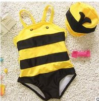 bee bathing suit - swimming suit for kids girl boys one piece mermaid bathing suit bee angel swim suits beach baby swimsuits Full girls swimwear
