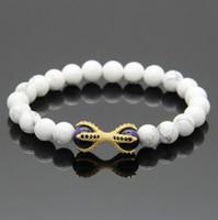 beaded marbles - White Howlite Marble Stone Purple Tiger Eye Beads Micro Inlay Black CZ Beads Eagle Paw Beaded Bracelets