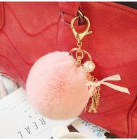 acrylic ring holder - Keyring Key Ring Cute Genuine Rabbit Fur Ball Car Gold Keychain Handbag PomPom Charm Key Tassel Pendant Car Accessories SS0005